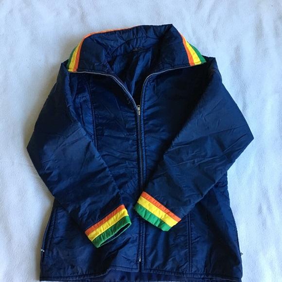 Vintage Jackets & Blazers - Vintage accent color stripe retro puffer coat
